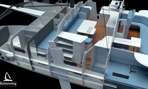 Schionning Designs Arrow 1201 Catamaran Interior CAD Render 01