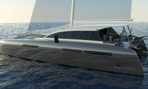 Current Marine CM²46 Catamaran_Schionning Designs CAD Render The CM245 is primarily designed for the purist and adventure cruiser racer sailor who wants an efficient fast performing sailing design that is spacious due to its open plan saloon and cockpit.