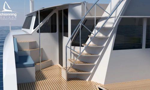 Euro 1480 Bi-Plane Catamaran External CAD Render Schionning Designs