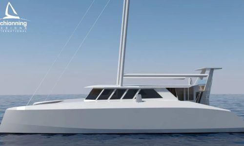 Euro 1480 Bi-Plane Catamaran External CAD Render Schionning Designs Port Side 1