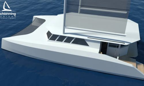 Euro 1480 Bi-Plane Catamaran External CAD Render Schionning Designs Port Side 13