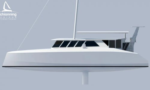 Euro 1480 Bi-Plane Catamaran External CAD Render Schionning Designs Port Side 2