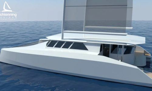 Euro 1480 Bi-Plane Catamaran External CAD Render Schionning Designs Port Side 3