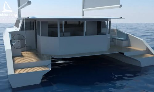 Euro 1480 Bi-Plane Catamaran External CAD Render Schionning Designs Stern 13