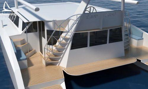 Euro 1480 Bi-Plane Catamaran External CAD Render Schionning Designs Stern 2