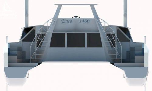 Euro 1480 Bi-Plane Catamaran External CAD Render Schionning Designs Stern 5