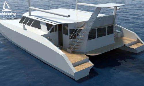 Euro 1480 Bi-Plane Catamaran External CAD Render Schionning Designs Stern
