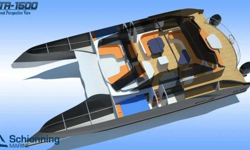 Growler 1500 GTR Power Catamaran Interior CAD - SDI - Schionning Designs International