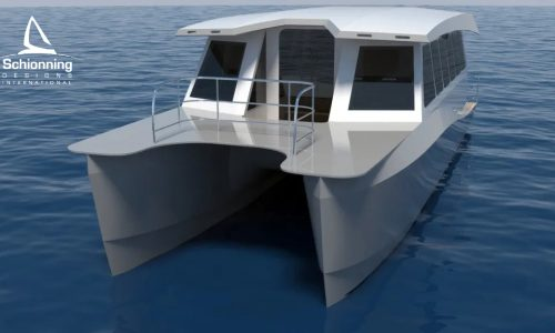 Prowler 1100 Water Taxi Catamaran by Schionning Designs Stern - Coral Aqua Water