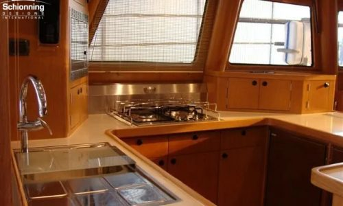 SDI Alaskan 52 Power Catamaran Tesania Interior Kitchen